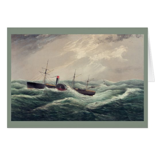 """Antique painting US mail steam ship """"Pacific"""" Card"""