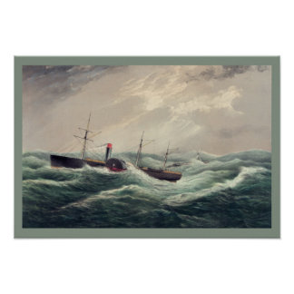 """Antique painting US mail steam ship """"Pacific"""" Poster"""