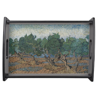 antique painting van gogh olive grove serving tray