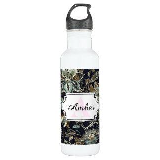 Antique Paisley flowers black background pattern Water Bottle