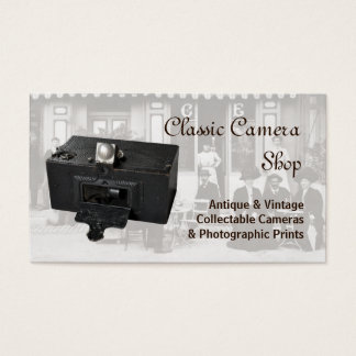 Antique panoramic camera and photo business card