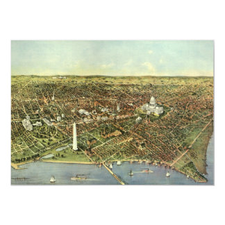 Antique Panoramic Map, Washington DC Invitation