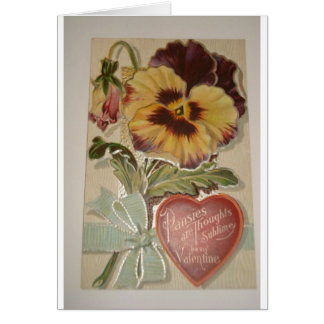 Antique Pansies Love Valentine Card