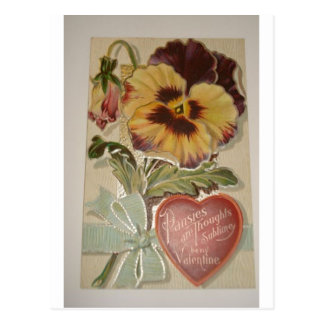 Antique Pansies Love Valentine Postcard
