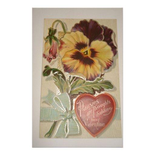 Antique Pansies Love Valentine Stationery