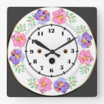 Antique Pansy Plate Clock Image