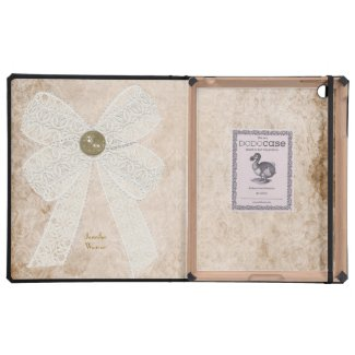 Antique Paper and Lace Bow DODO iPad Case