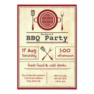 Antique Paper BBQ Party - 3x5 Invitation