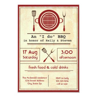 "Antique Paper ""I do"" BBQ Party - 3x5 Invitation"
