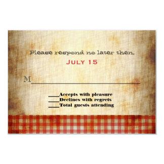 Antique Paper Look Custom Wedding RSVP Card Invite