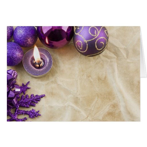 antique paper purple tealight ss greeting card