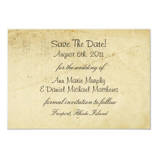 Antique Paper Save the Date Personalized Announcements
