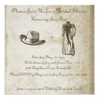 Antique Paper with Vintage Wedding Dress and Hat Invite