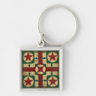 Antique Parcheesi Game Board by Ethan Harper Keychain