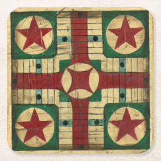 Antique Parcheesi Game Board by Ethan Harper Square Paper Coaster