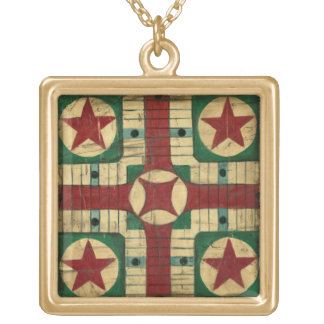 Antique Parcheesi Game Board by Ethan Harper Square Pendant Necklace