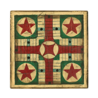 Antique Parcheesi Game Board by Ethan Harper Wooden Coaster