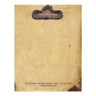Antique Parchment and Brass Plaque Letterhead