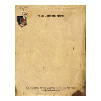 Antique Parchment and Telephone Compass Camera Letterhead