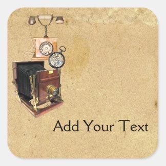 Antique Parchment and Telephone Compass Camera Square Sticker