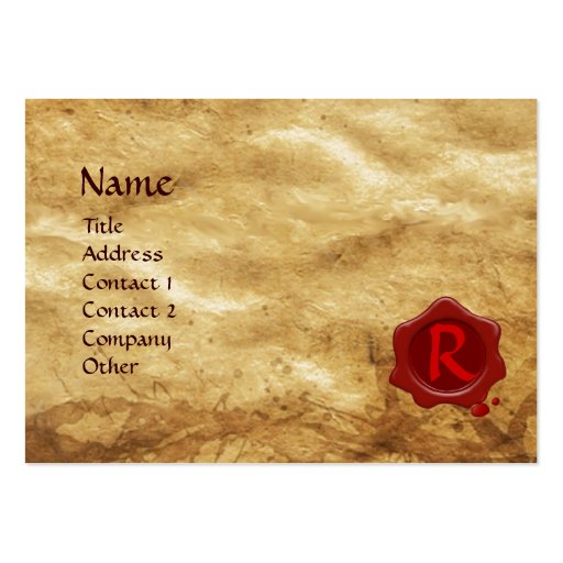 ANTIQUE PARCHMENT, RED WAX SEAL MONOGRAM BUSINESS CARD TEMPLATE