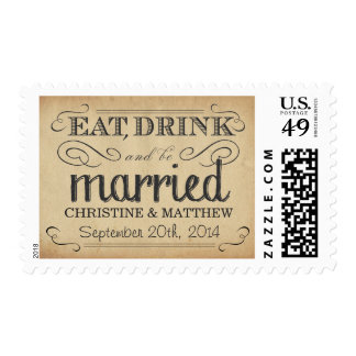 Antique Parchment Rustic Country Wedding Postage