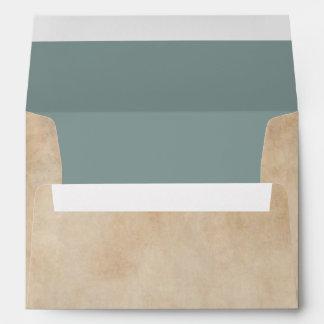 Antique Parchment | Slate Blue-Green Liner Custom Envelope