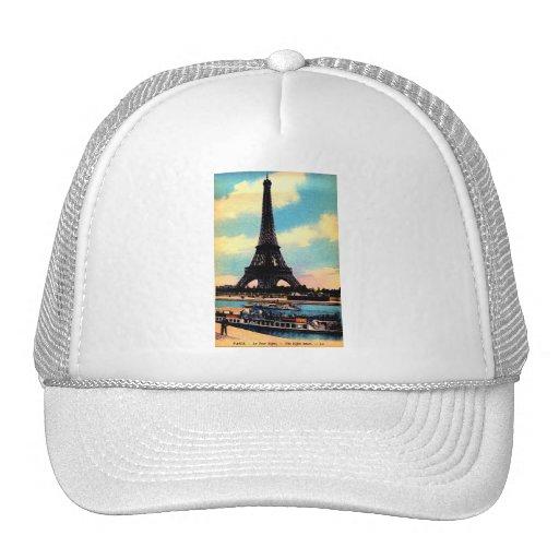 Antique Paris French Chic Eiffel Tower Trucker Hats