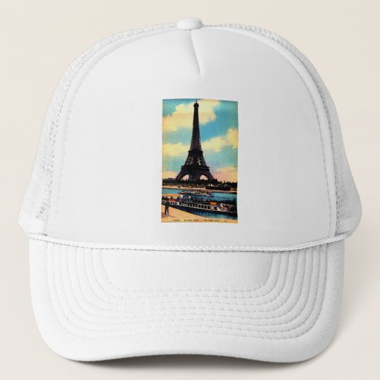 Antique Paris French Chic Eiffel Tower Trucker Hat