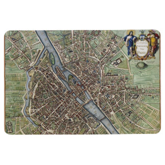 Antique Paris Map 1657 Seine River Vintage France Floor Mat