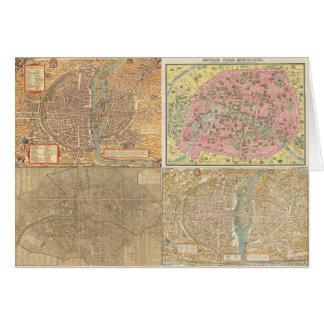 Antique Paris Maps Card