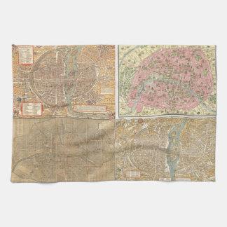 Antique Paris Maps Hand Towels