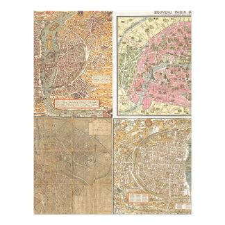 Antique Paris Maps Custom Letterhead