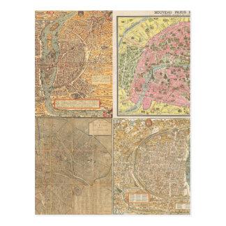Antique Paris Maps Postcard