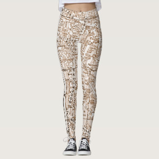 Antique Paris Street Map Leggings