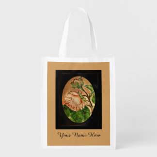 Antique Peach Roses Reusable Grocery Bags