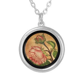 Antique Peach Roses Round Pendant Necklace