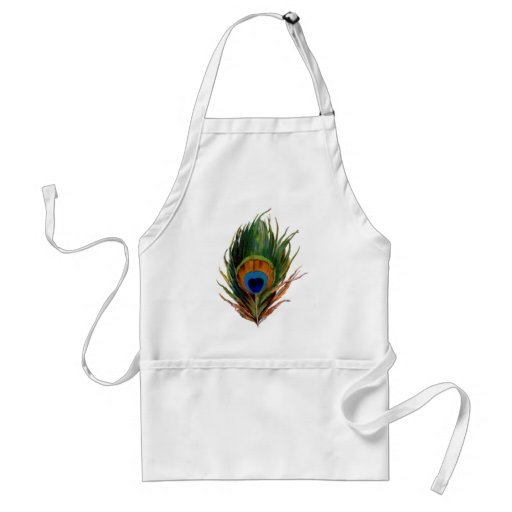 Antique Peacock Feather Adult Apron