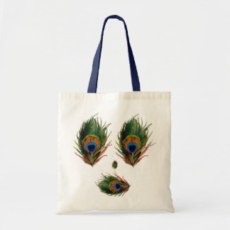 Antique Peacock Feather Canvas Bags