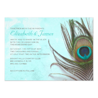 "Antique Peacock Feather Wedding Invitations 5"" X 7"" Invitation Card"