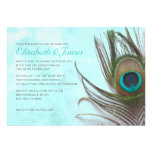 Antique Peacock Feather Wedding Invitations Card