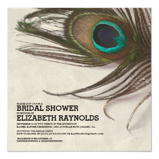 Antique Peacock Feathers Bridal Shower Invitations