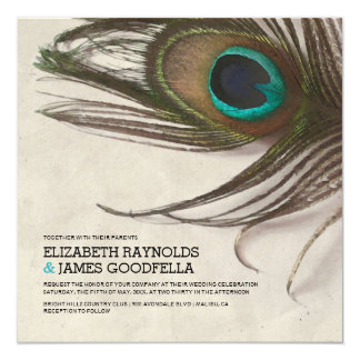Antique Peacock Feathers Wedding Invitations