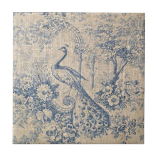 Antique Peacock Toile Ceramic Tile