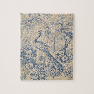 Antique Peacock Toile Jigsaw Puzzle