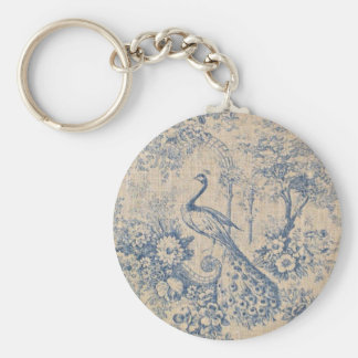 Antique Peacock Toile Keychain