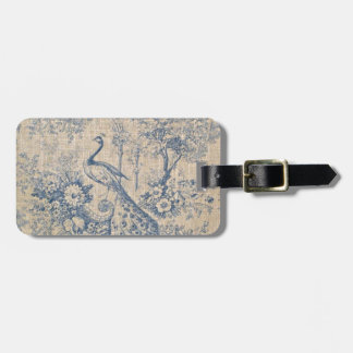 Antique Peacock Toile Luggage Tag