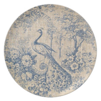 Antique Peacock Toile Melamine Plate