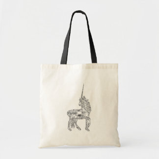 Antique Pen Flourish Calligraphy Unicorn Budget Tote Bag