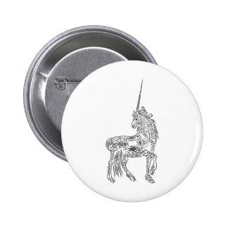 Antique Pen Flourish Calligraphy Unicorn 2 Inch Round Button